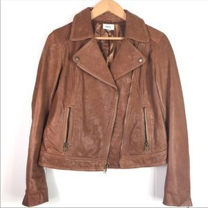 Fossil Lizzy Lamb Leather Moto Jacket Brown